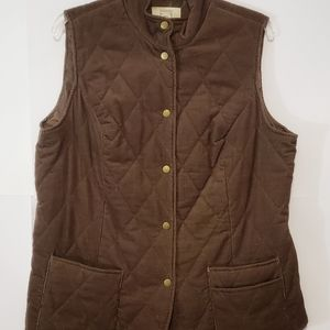 Relativity Womens Brown Quilted Corduroy Vest